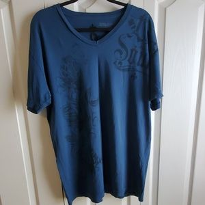 Affliction blue and black shirt size 2XL